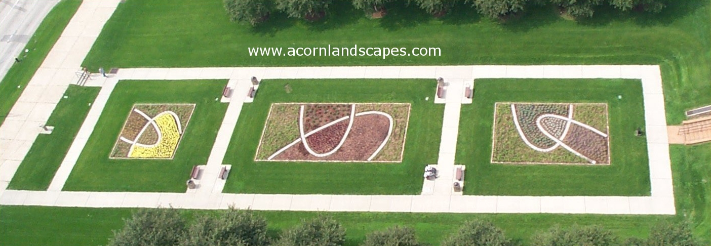 View from atop the Adam's Mark Hotel, May 2003 - Design of Luther Ely Smith National Park Garden by Mary Deweese - Landscape Architect, Acorn Landscapes. Winner of an Award of Merit ASLA St. Louis Chapter.